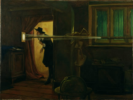 Jeremiah Horrocks observing the Transit of Venus in 1639