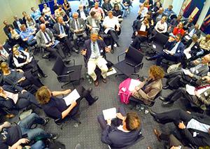 Alles dreht sich um Wissenschaftskommunikation - Diskussion um die Akademienempfehlungen in Berlin. (Foto: acatech/Weigelt)