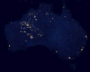 "This nighttime image of Australia was cropped from the Suomi NPP ""Black Marble"" released by NASA and the National Oceanic and Atmospheric Administration in December 2012. Credit: NASA Earth Observatory/NOAA NGDC"
