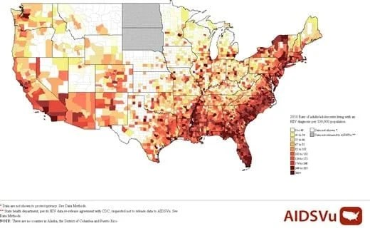 Maps show impact of HIV in U.S.