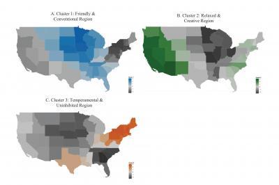 Divided we stand: US regions exhibit distinct personalities