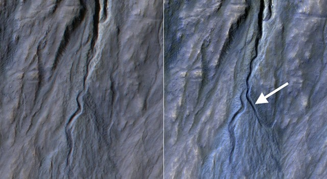 NASA Orbiter Finds New Gully Channel on Mars