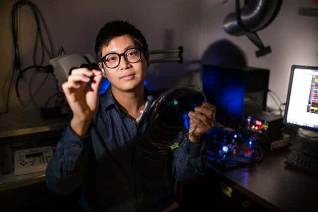 Single flexible fiber successfully delivers optical, electrical, and chemical signals back and forth into the brain