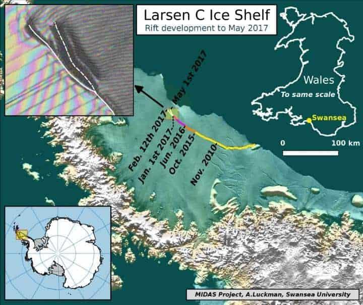 Larsen C Antarctic ice rift spreads