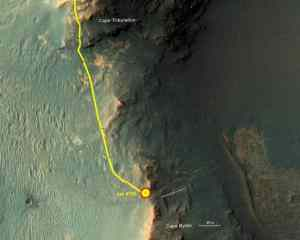 Mars rover Opportunity on walkabout near rim