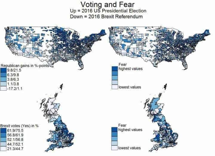 2016 Brexit/Trump election results driven by fear and loathing