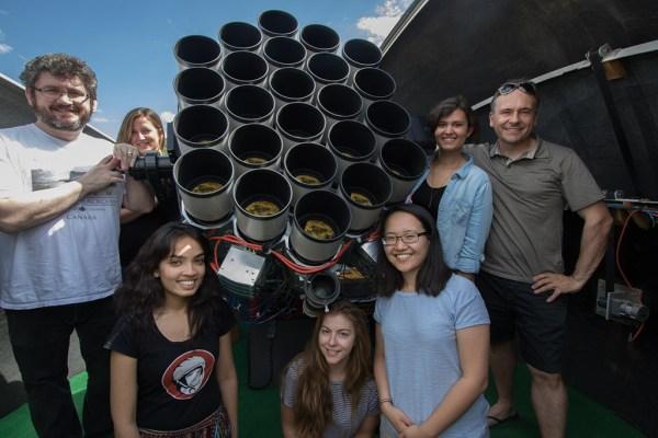 """Das Dragonfly Telephoto Array der University of Toronto, Kanada, mit Team (ganz links: Roberto Abraham, ganz rechts: Pieter van Dokkum). Das Gerät besteht aus einer Batterie von Kameras mit 400-mm-Canon-Teleobjektiven und erinnert an ein Insektenauge – daher der Name (dragonfly = engl. Libelle). Bild: © <a href=""""https://www.dunlap.utoronto.ca/instrumentation/dragonfly/"""">University of Toronto</a>, mit freundlicher Genehmigung."""