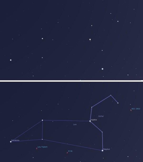 Sternbild Löwe so, wie es am Himmel steht, und mit Orientierungsmarken.