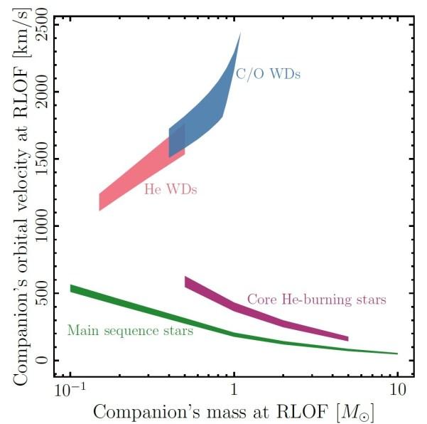 Umlaufgeschwindigkeiten von verschiedenen Begleitsternen eines Weißen Zwergs beim Beginn des Materietransfers über die Roche-Grenze (Roche Lobe Overflow, RLOF). x-Achse: Masse des Begleitsterns, y-Achse: Orbitalgeschwindigkeit. Grün: Zwerge auf der Hauptreihe, violett: Riesensterne (Heliumbrennen im Kern), rot: leichte Weiße Zwerge aus Helium, blau: massive Weiße Zwerge aus Kohlenstoff und Sauerstoff. Bild: [3]