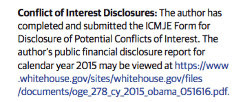 Conflict of Interest Disclosures: