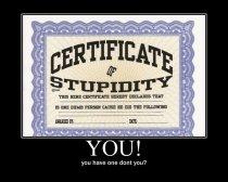 stupidity certificate