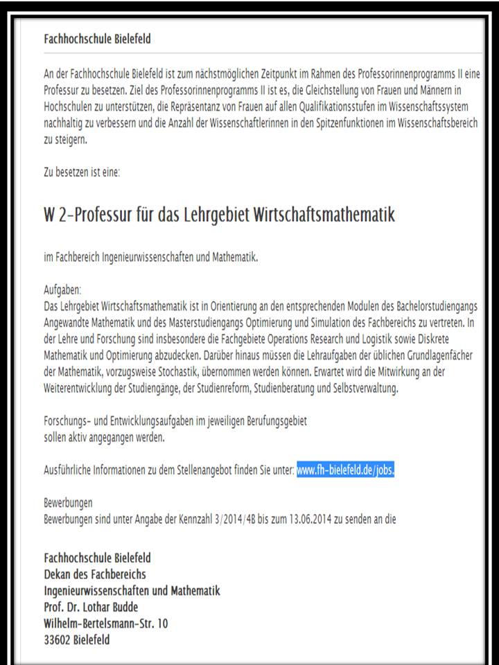 an der fachhochschule bielefeld ist zum nchstmglichen zeitpunkt im rahmen des professorinnenprogramms ii eine professur zu - Fh Bielefeld Bewerbung