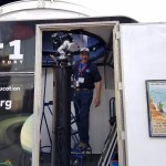 Richard prepares the telescopes for the eclipse