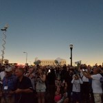 The sky darkens as the eclipse approaches totality