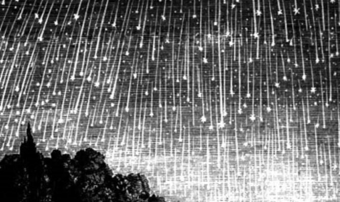 Leonids meteor storm shower