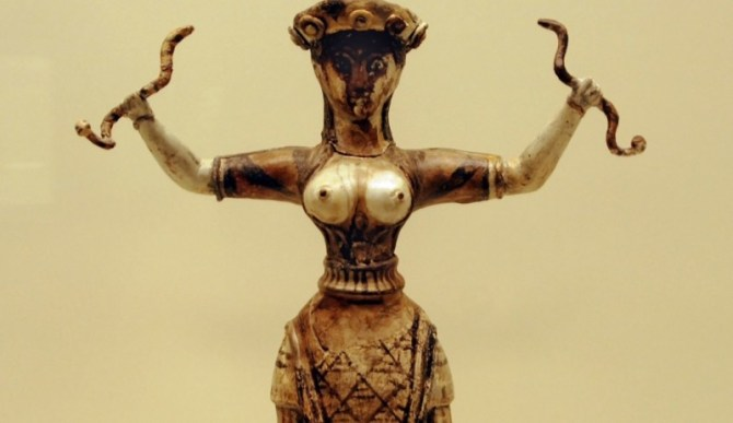 Mycenaean snake woman sculpture
