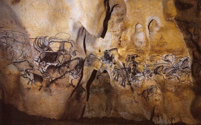 Prehistoric cave art animals