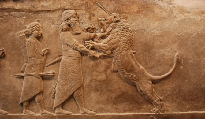 Sumerian killing lion carving