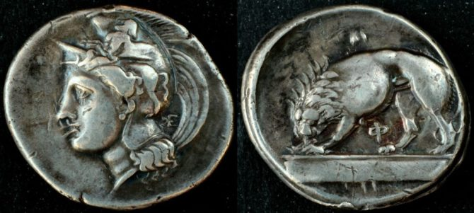 Coin with European Lion on it extinct