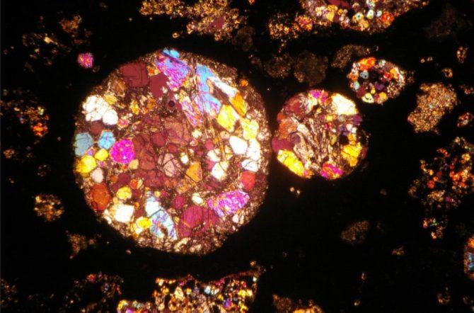 Cross section of meteorite