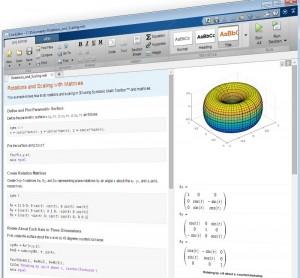 MATLABLiveEditor: zdrojový kód, dokumentace, výstup programu i další obsah v jediném souboru