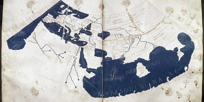 Ptolemaiova mapa světa, zdroj: Wikipedia, licence obrázku public domain