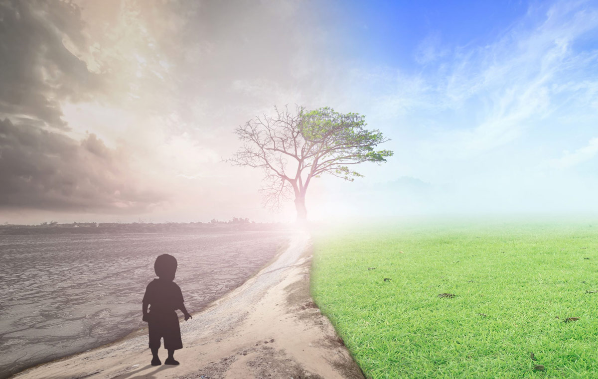 World environment day concept Child standing between climate worsened with good atmosphere