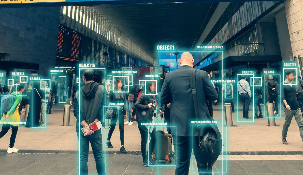 Ai identify person technology for recognize, classify and predict human behavior for safety. Futuristic artificial intelligence. Surveillance and data collection of citizens through city cameras
