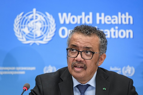 World Health Organization (WHO) Director-General Tedros Adhanom Ghebreyesus gives a press conference on the situation regarding the COVID-19 at Geneva's WHO headquarters on February 24, 2020. - Fears of a global coronavirus pandemic deepened on February 24 as new deaths and infections in Europe, the Middle East and Asia triggered more drastic efforts to stop people travelling. (Photo by Fabrice COFFRINI / AFP) (Photo by FABRICE COFFRINI/AFP via Getty Images)