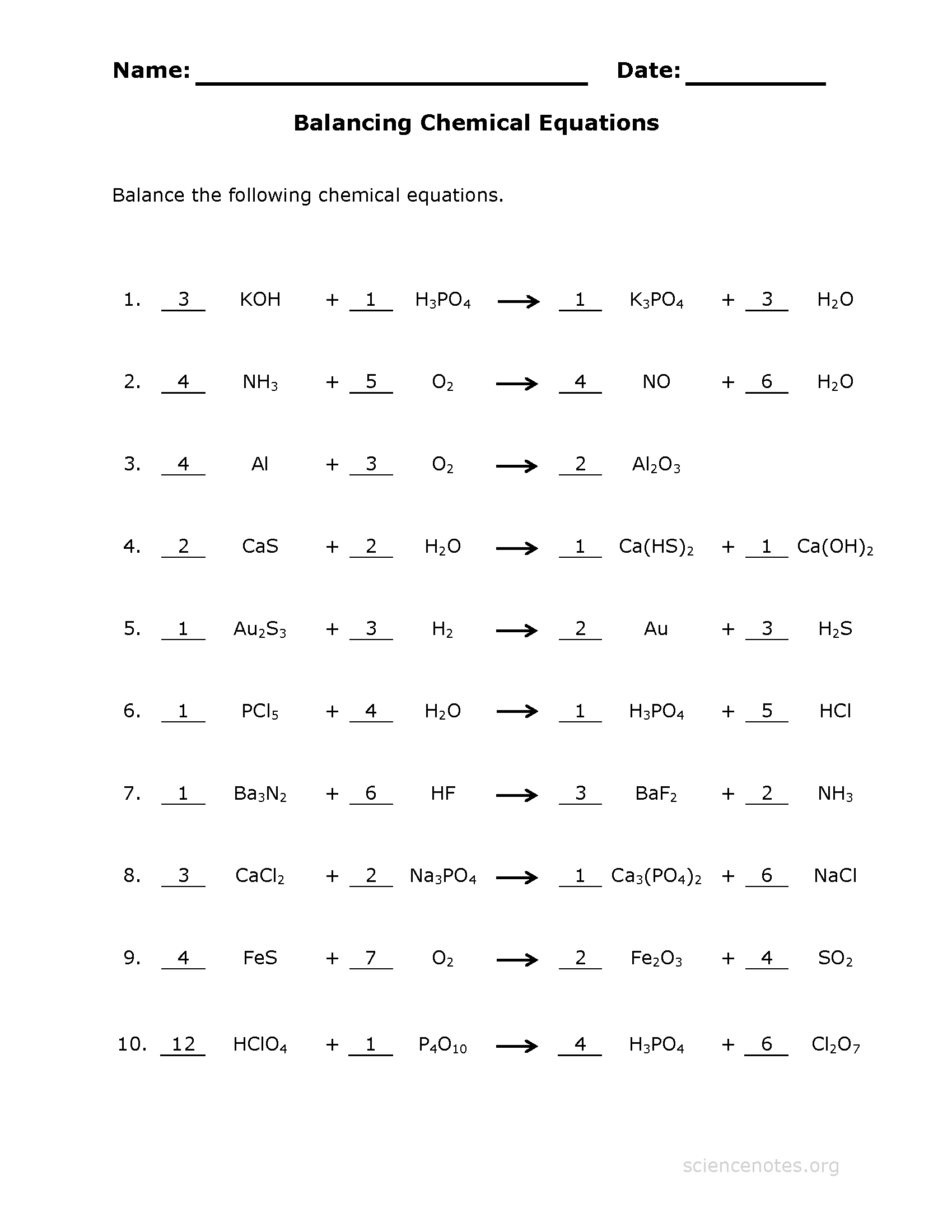 Balancing Chemical Equations Worksheet 1