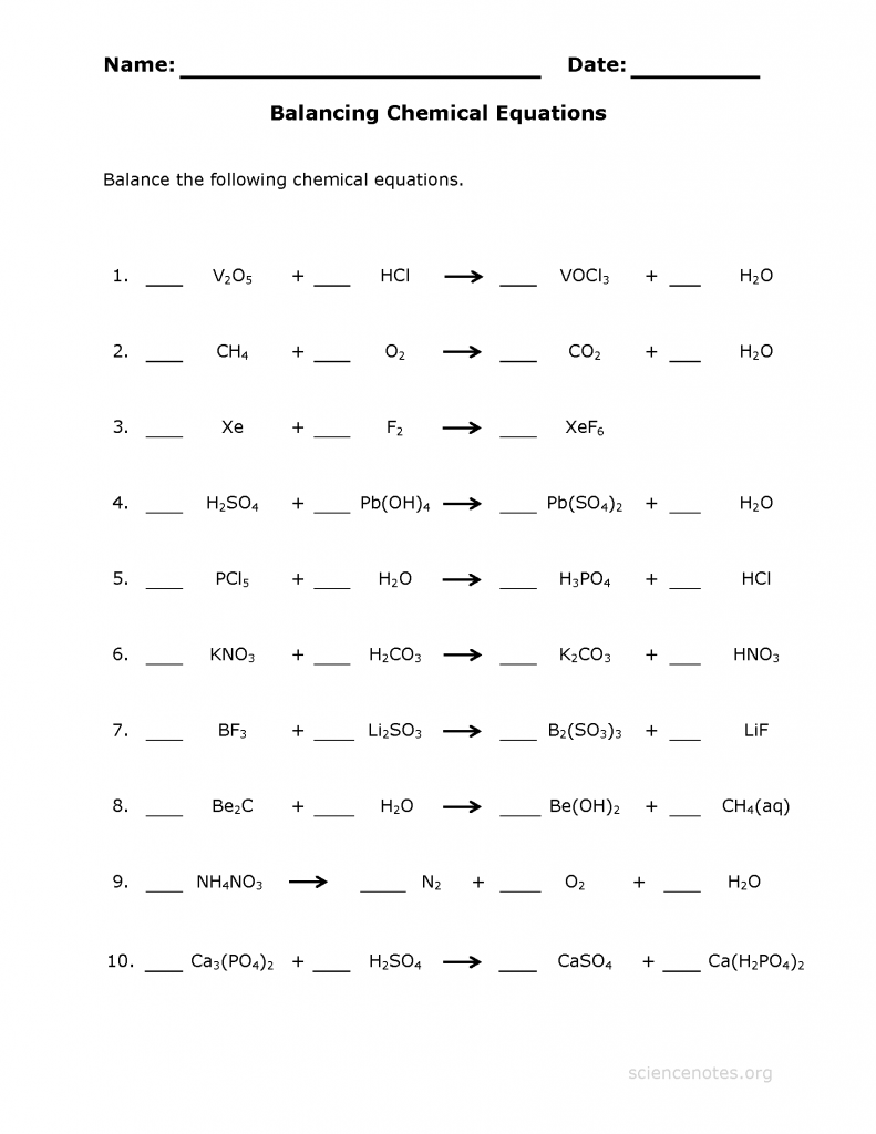 about chemistry balancing equations worksheet - Elleapp