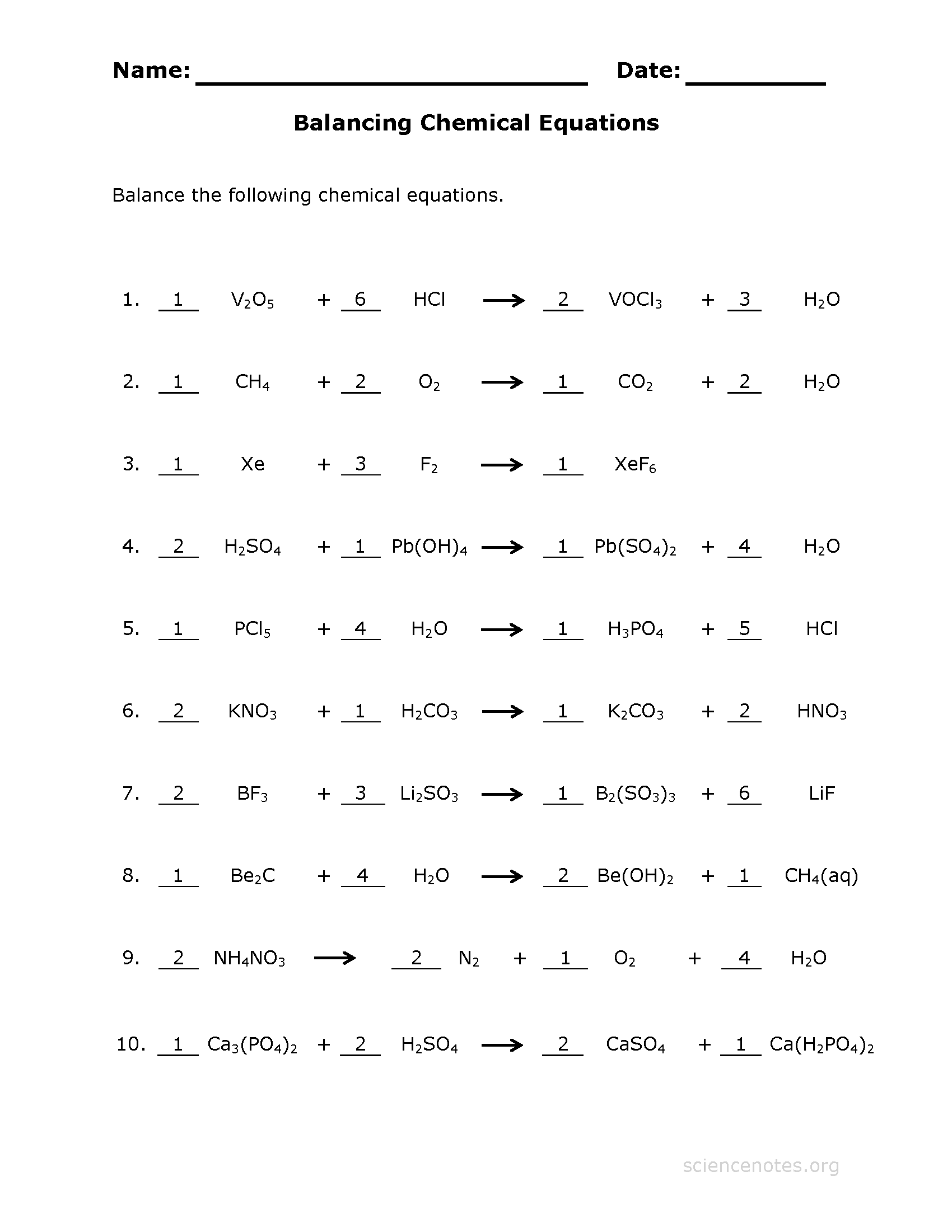 Balancing Equations Worksheet Answers Carson Dellosa