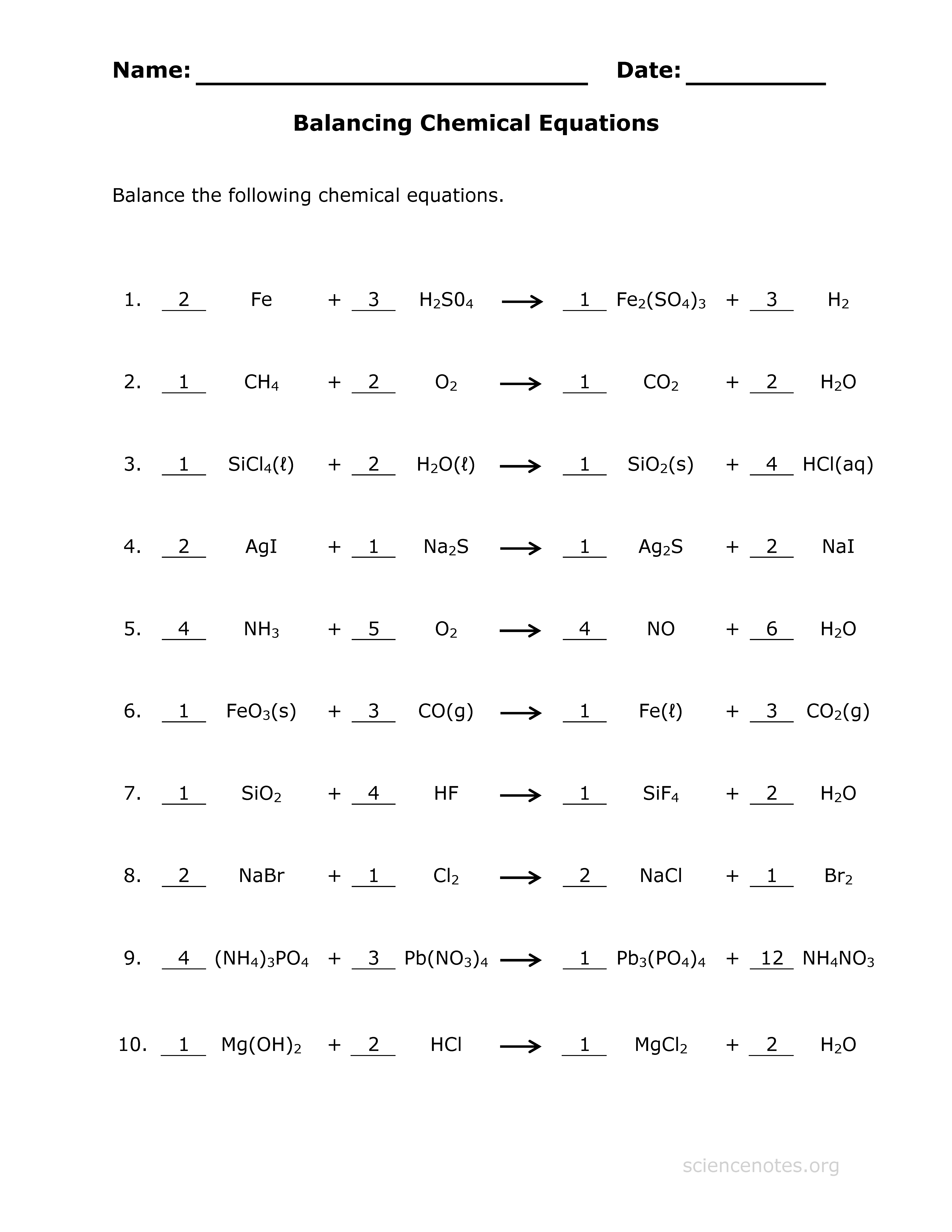 Balance Equations Key