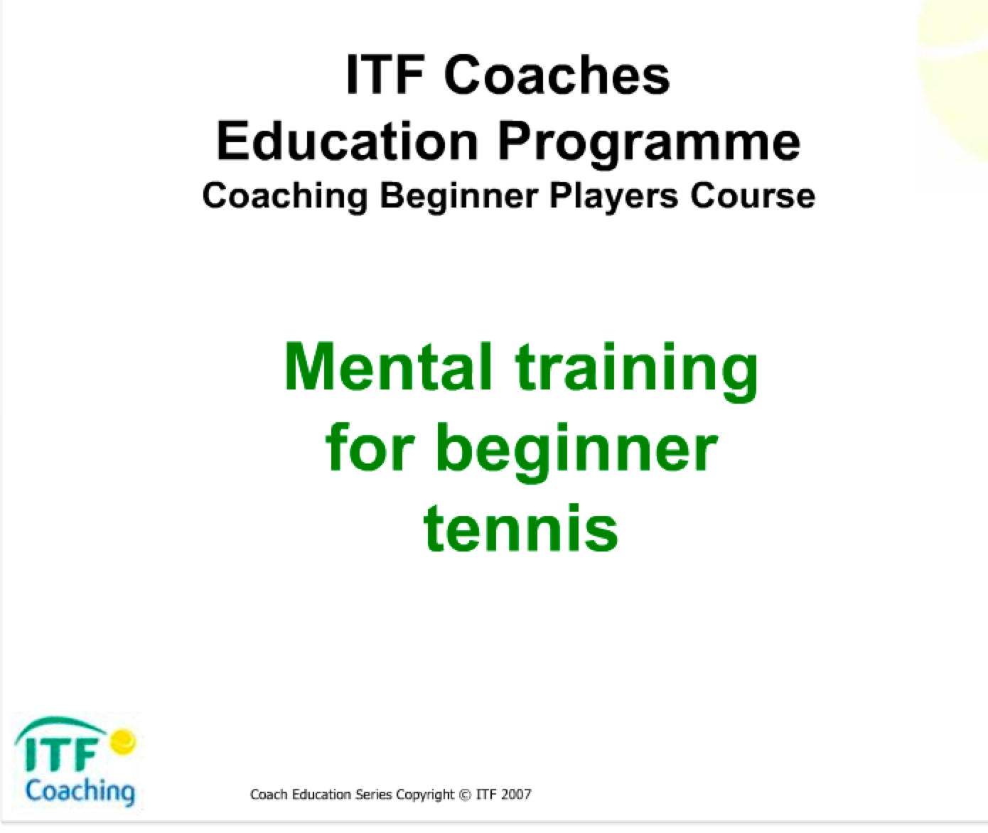 ITF Mental Training for Tennis Beginners