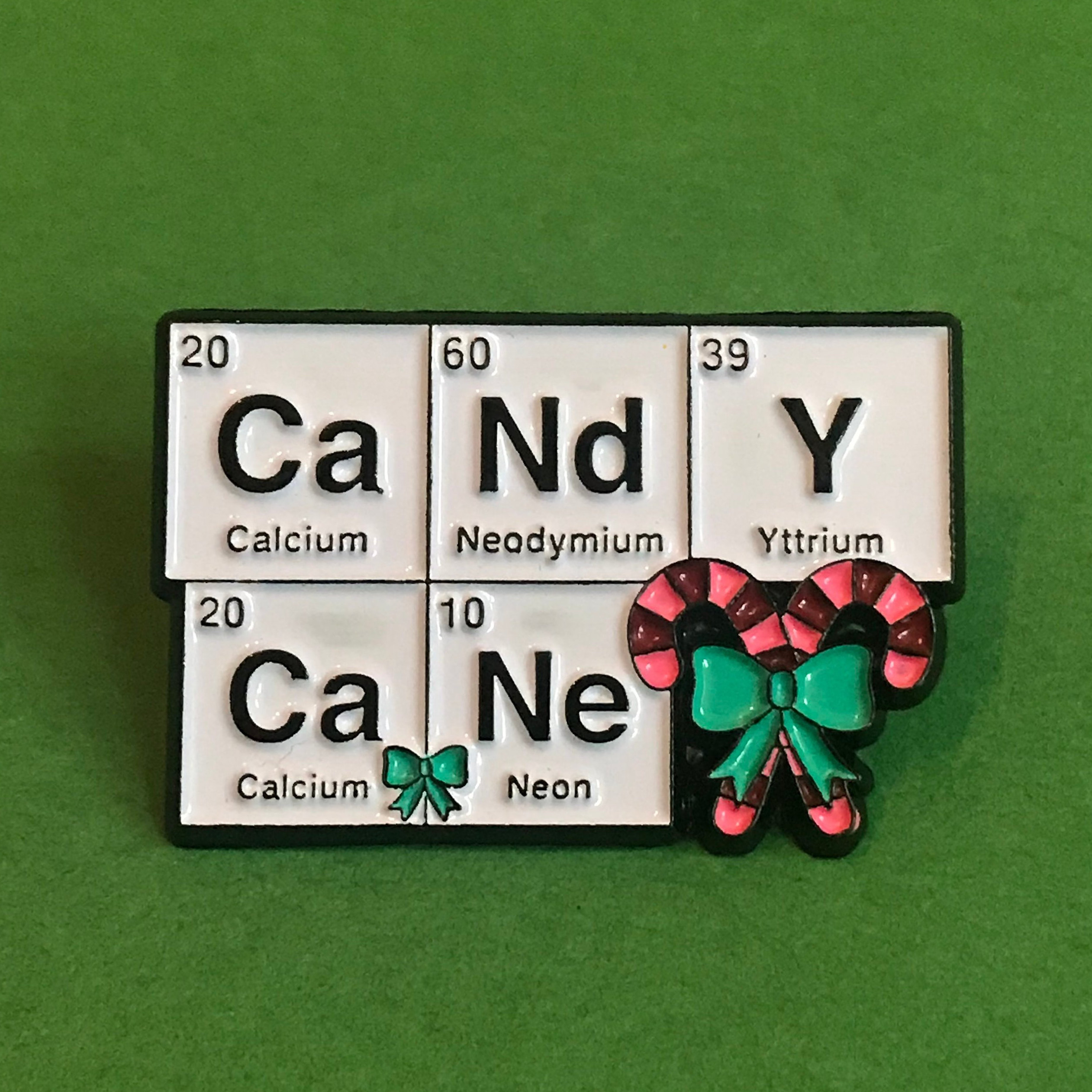 Candy Cane Science Christmas Holidays Card With Enamel Pin