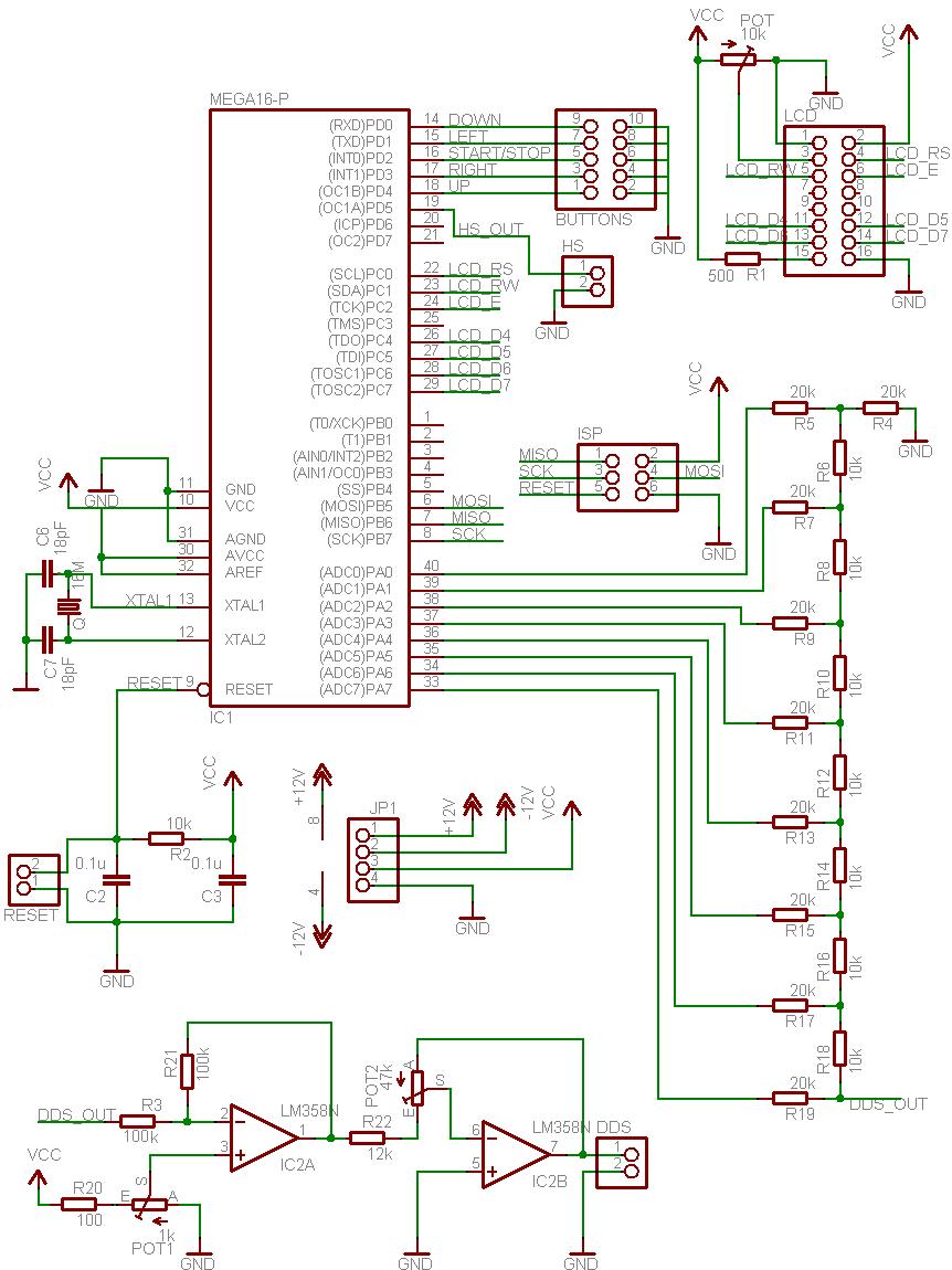 Circuit diagram for AVR DDS signal generator