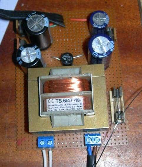 5V, 12V and -12V power supply assembly on PCB