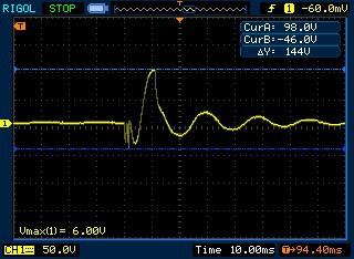 piezo vibration sensor test with oscilloscope