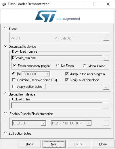 stm32 flash programming screen