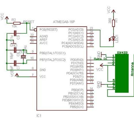 RX433 module interfaced to AVR