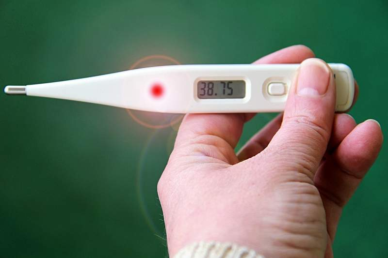 thermometer indicating flu