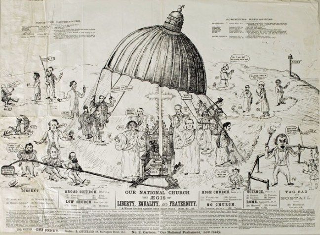 "This broadsheet published by Appleyard for one penny (c. 1880s), depicts several notable contributors to religion and science debates from the 1880s. John Tyndall, Thomas Huxley and Charles Darwin are shown as advocates for ""Science"" among the parties vying to define Christianity. ""Our National Church: The aegis of Liberty, Equality, and Fraternity"". [Whipple Museum of the History of Science, University of Cambridge, Wh.5935]"