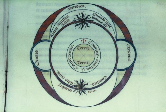 Map of the universe, from Petrus Alphonsi, Dialogi cum Moyse Judaeo. Shelfmark: MS. Laud Misc. 356, fol. 120r