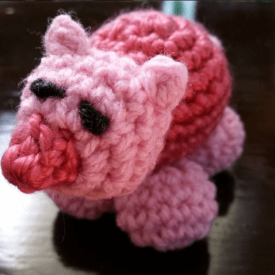 "Freehand crochet - no pattern, just wanted to make a little piggy to thank a friend for ""saving my bacon"""