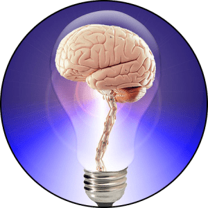 Photograph of a brain in a lightbulb
