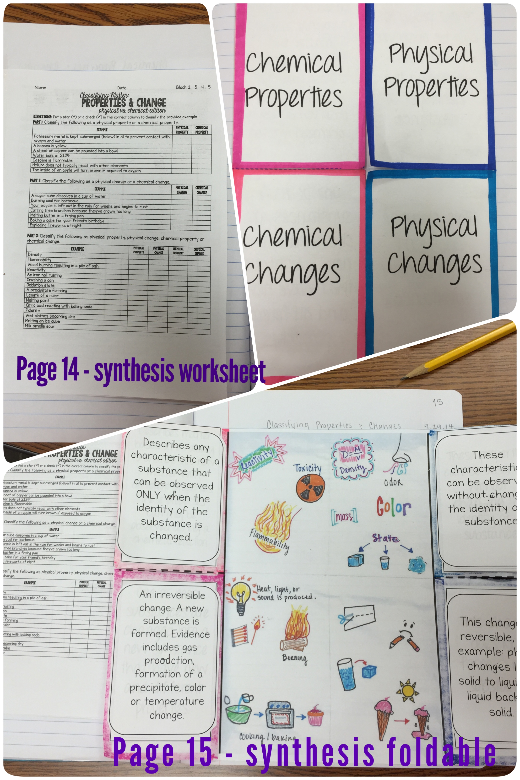 Synthesis Physical Vs Chemical Properties Amp Changes Science With Mrs Barton
