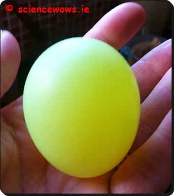 The flourescent egg in daylight!