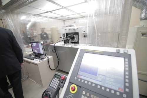 The ROBONANO, which is on a multi-year loan from the Japanese robotics manufacturer FANUC, is housed in Sangkee Min's laboratory at UW-Madison. The ROBONANO's ability to cut at the nanoscale is two orders of magnitude more precise than most machines used in advanced manufacturing today.