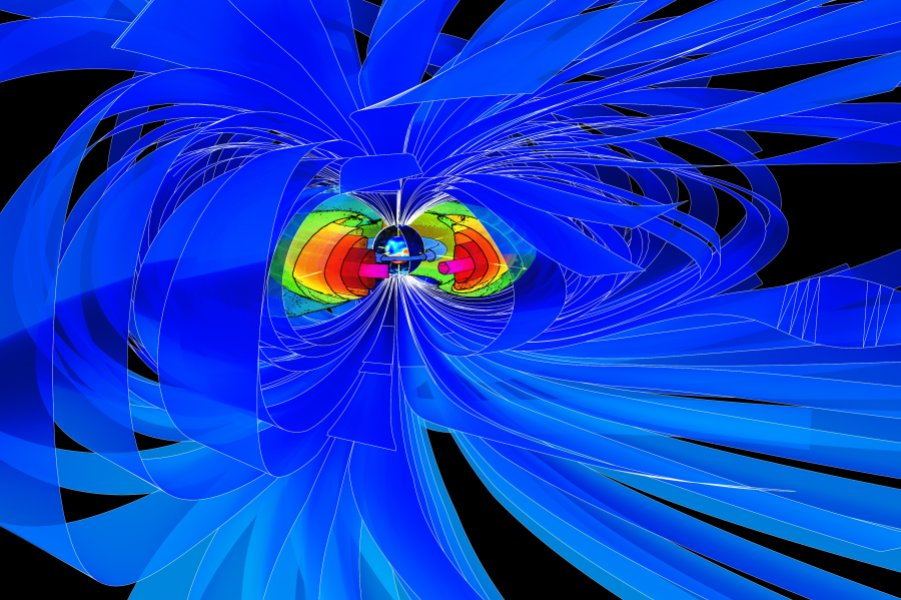 Visualization of Earth's magnetic environment, with the magnetic field as a protective shield, generated by the strong internal magnetic field in Earth's core (for more see the end of the press release). Credit: Martin Rother/GFZ