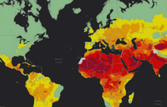 This WHO heat map shows the highest (red) and lowest (green) levels of air pollution worldwide. Credit: Image courtesy of World Health Organization